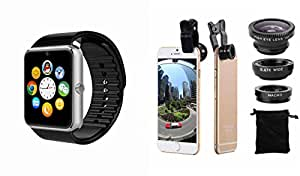MIRZA Bluetooth GT08 Smart Wrist Watch & Mobile Lens for VIVO v1max(Mobile Lens,Macro Lens & Bluetooth GT08 Smart Watch Wrist Watch Phone with Camera & SIM Card Support Hot Fashion New Arrival Best Selling Premium Quality Lowest Price with Apps like Facebook, Whatsapp, Twitter, Sports, Health, Pedometer, , Compatible with Android iOS Mobile Tablet-Silver Color)