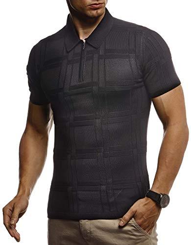 LEIF NELSON Herren Sommer T-Shirt Poloshirt Slim Fit aus Feinstrick | Cooles Basic Männer Polo-Shirt Crew Neck | Jungen Kurzarmshirt Polo Shirt Sweater Kurzarm | LN7325 Schwarz Small -