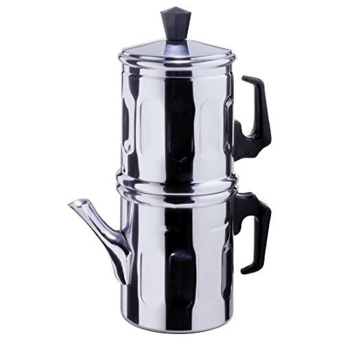 41SrH7YxJpL. SS500  - Ilsa Aluminium Neapolitan Cups 6 Moka Coffee Makers and Gaskets, 6 Cups, Silver