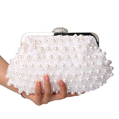 pwne L. In West Frauen Pearl Spitze Blumen Diamanten Abend Tasche White