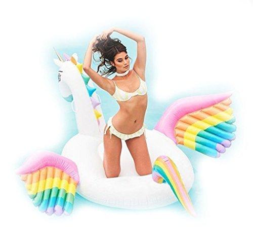 Riesigen Aufblasbaren Regenbogen Einhorn Pferd Pool Float Floß Sommer Strand Floatie Lounge Pool Outdoor Wasser Party Lounge Spielzeug Für Erwachsene & Kinder (98in×98in×51in)