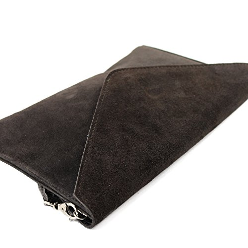 modamoda de - ital. Ledertasche Clutch Unterarmtasche Abendtasche Citytasche Wildleder T106 Dunkelbraun