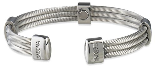 Magnetic Bracelet - Trio Cable Stainless, three Stainless Steel Cables connected and accented by polished connectors, contains five Samarium Cobalt Magnets, Size S/M fits wrist of 16.5 to 17.5 cm