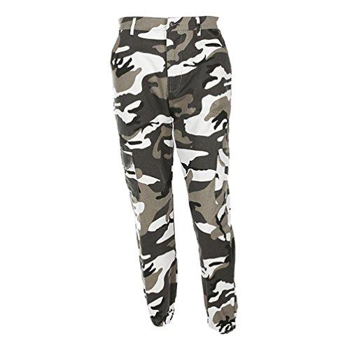 NiSeng Damen Casual Tarnung Drucken Jeans Multi-Tasche Hose Cargohose Trainingshose Grau M (Hose Camo)