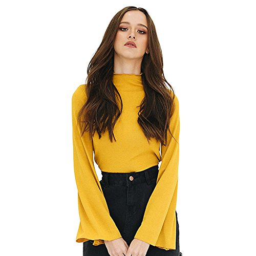squarex _ Elegante Damen Fashion Flare Sleeve Casual Bluse Rollkragen tops T Shirt, Polyester, gelb, M (Flare Aeropostale Jeans)