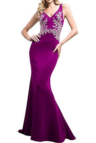 Charmant Damen Royal Blau Chiffon Etuikleider Langes Abendkleider Ballkleider Festlichkleider mit Spitze Fuchsia