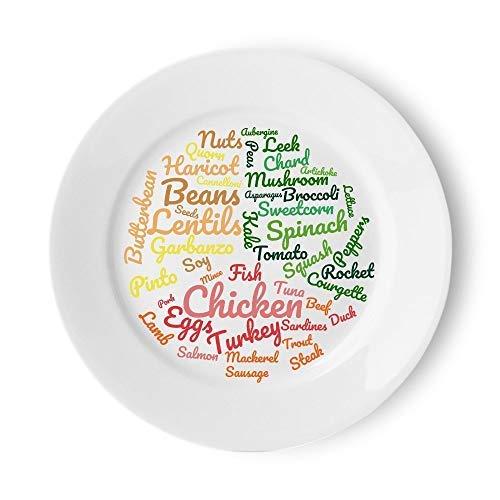 Low Carb Platte | Schön gestaltete einfache Abschnitte, um eine kohlenhydratarme/proteinreiche Diät zu folgen | 10-Zoll-Mahlzeit-Platte für Food-Ideen & Portion Control für einfach Gewichtsabnahme - Folgen Diät