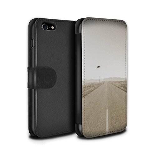 Stuff4 Coque/Etui/Housse Cuir PU Case/Cover pour Apple iPhone 8 / OVNI/UFO Vintage Design / Extra-Terrestre Collection OVNI/UFO Vintage
