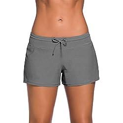 YIFEIKU Co.,Ltd. Pantalones Cortos de natación para Mujer, Deportivos, Pantalones Cortos con Cintura Dividida en los Laterales, para Verano, Playa, natación, Mujer, Gris, Medium