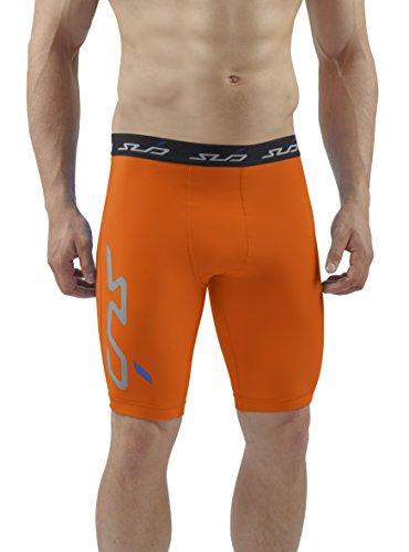 Sub Sports - Pantaloncini corti, termici, invernali, a compressione, taglia S, colore: arancione, Uomo, Cold, Orange, L