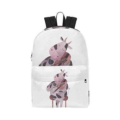 Spaß Kuh Happy Animal Cartoon Classic Cute Wasserdichte Laptop Daypack Taschen Schule College Kausal Rucksäcke Rucksäcke Bookbag Für Kinder Frauen Und Männer Reisen Mit Reißverschluss Und Innentasche