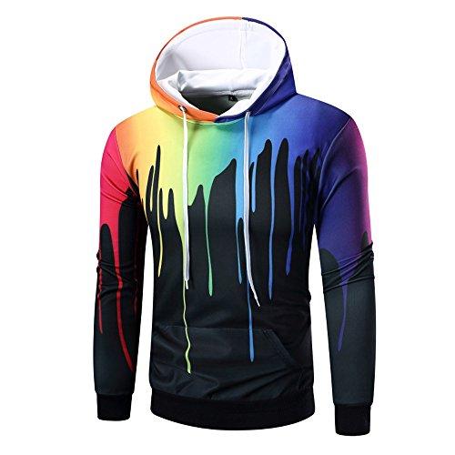 (KPILP Kapuzenpullover Männer Hoodie Mit Kapuze Dicke Warme Lange Ärmel Oberteile Digitaldruck Sweatshirt Tops Coat Outwear(A-schwarz,EU-56/CN-XL))