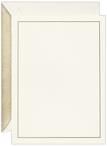 Crane & Co. Hand Engraved Gold Rule Line Imprintable Invitation Card (CC9403) by Crane & Co. -