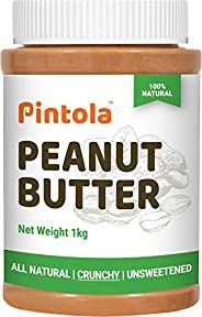 Pintola All Natural Peanut Butter (Crunchy) (1kg) | Unsweetened | 30g Protein | Non GMO | Gluten Free | Vegan