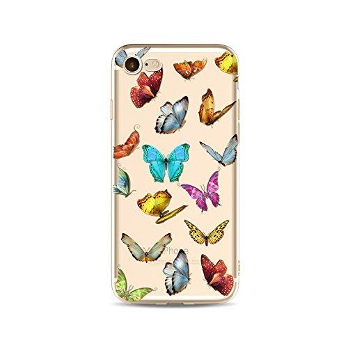 Coque iPhone 5 5s Housse étui-Case Transparent Liquid Crystal en TPU Silicone Clair,Protection Ultra Mince Premium,Coque Prime pour iPhone 5 5s-Le Papillon-style 4 8