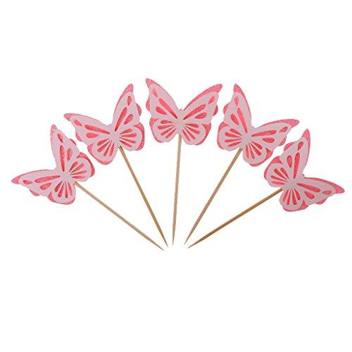 Pink Schmetterling Cupcake Toppers Kuchen Picks Kid Baby Shower Party ()