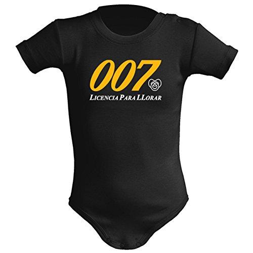 Body bebé unisex. Parodia James Bond 007 - Licencia para matar (licencia para llorar). Regalo friki. Regalo original. Body bebé divertido. (6 meses, negro)