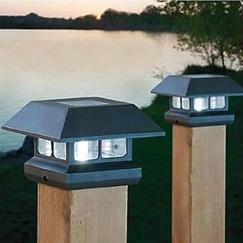 2 lampes led blanc solaire lumi re de poteau de cl ture for Poteau led exterieur