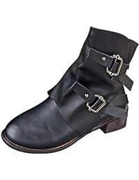 Stiefel Damen Boots Freizeitschuhe Mode Mittel Militärstiefel Frauen  Schnalle Kunstleder Stiefeletten Patchwork Schuhe Leder Boot ABsoar 9b4e06964f