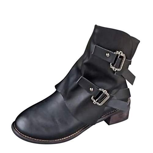 Stiefel Damen Boots Freizeitschuhe Mode Mittel Militärstiefel Frauen Schnalle Kunstleder Stiefeletten Patchwork Schuhe Leder Boot ABsoar (38 EU(=39CN), Schwarz)
