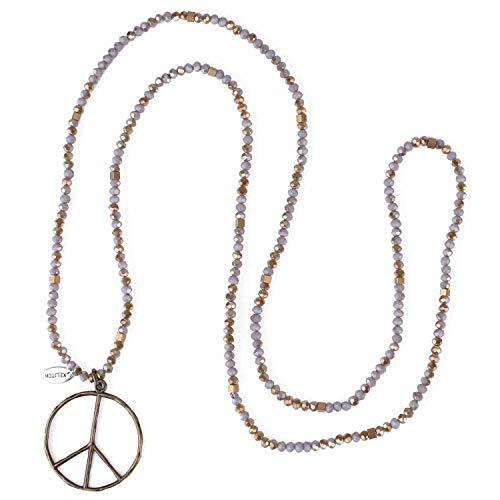 KELITCH Klassisch Frieden Zeichen Liebe Hippie Anhänger mit Mattiertem Kristall Wulstig Halskette (Grau Grün U)