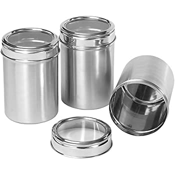 Dynamic Store Stainless Steel Kitchen Storage Canisters With See Through  Lid   Set Of 3
