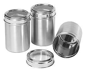 Dynamic Store Stainless Steel Kitchen Storage Canisters With See Through Lid - Set Of 3