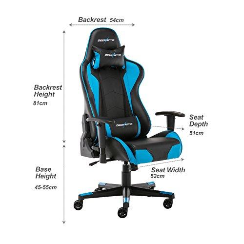 Deerhunter Gaming sedia, sedia da ufficio in pelle, schienale alto ...