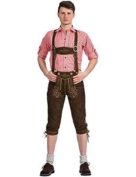 Herren Trachten Lederhose Kniebundhose mit Trägern aus feinstem Ziegenveloursleder in hellbraun verfügbar in Größe...