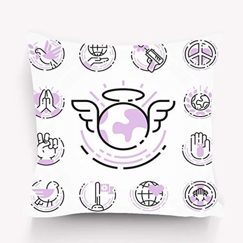 rongxincailiaoke Kissenbezüge Pillow case Peace Outline Thin line Icons Love World Freedom international Free Care Hope Human Flag Positive 18 * 18 inch