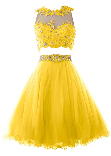 MACloth Women Two Piece Lace Tulle Short Prom Dress Homecoming Party ...