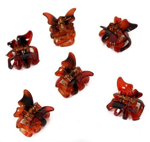 Mini-butterfly-clips (Set of 6 Mini 2cm Butterfly Hair Claws/Clips - Brown by Top Brand)