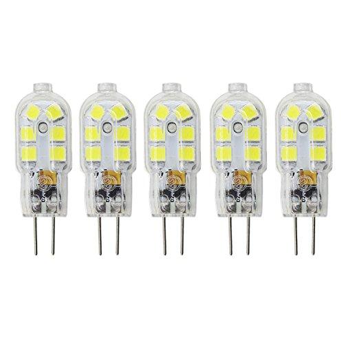 Mechok 5er-Pack G4 LED Dimmbar Lampe Birne Nicht Dimmbar G4 LED Leuchtmittel 2W 180 Lumen Ersetzt 20W Halogen, AC/DC 12V, Kaltes Weiß, 360° Abstrahlwinkel -