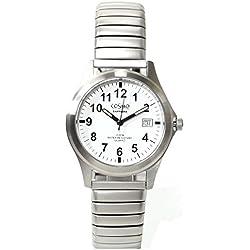 Cosmo 033004RZB-weiß Uhr Herrenuhr Edelstahl 100m Analog Datum weiß
