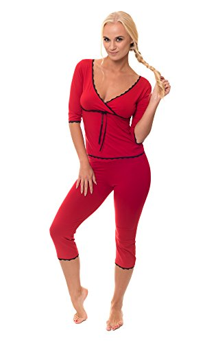 Sophie Bernard - Chemise de nuit - Uni - Manches 3/4 - Femme Rouge
