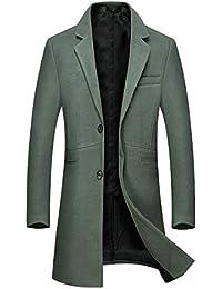 Sliktaa Manteau Laine Homme Long Trench Coat Hivers Chaud Slim Manches  Longues Affaires Casual A La c9d75199c55