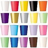 50x Vasos (Lila, Negro, Amarillo, rosa, rojo) vasos desechables para bebidas frías y bebidas calientes de cartón respetuoso con el medio ambiente, bodas, cumpleaños, Taza de café, picnic, Jardín, partido, barbacoas
