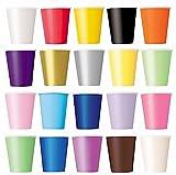 50vasos (lila, negro, amarillo, rosa, rojo), vasos desechables para bebidas frías y bebidas calientes, de cartón respetuoso con el medio ambiente, bodas, cumpleaños, para café, picnic, jardín, partido, barbacoas
