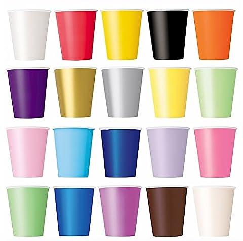 50x gobelet (Violet, Noir, Jaune, Rose, Rouge)/Gobelets pour boissons froides et boissons chaudes en carton jetables écologique, multicolore, Mug, mariage, Kinderfest, anniversaire, fêtes, pique-nique, jardin, fête, barbecue