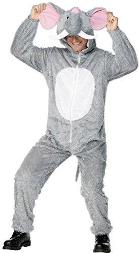Elefant Kostüm Grau enthält Jumpsuit mit Kapuze, Medium