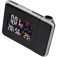 Surfmalleu Reloj de Alarma Despertador de Proyección Digital Termómetro LCD Pantalla de Luz de Fondo con Temperatura Proyector Interior Puerto de Carga USB Snooze Calendario