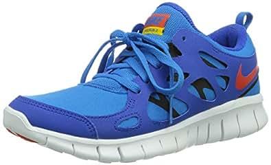 Nike Nike Free Run 2 Gs, Chaussures de running mixte enfant - Bleu (Hyper Cobalt/Tm Orange-Photo Blue-Black), 37.5 EU