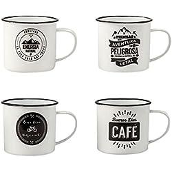 Juego de 4 Tazas Mug vintage esmaltadas para café / té / infusiones.