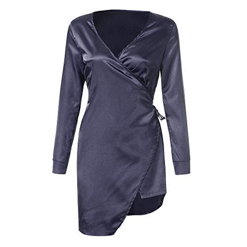AIni Damen Nachthemden,Elegant Frauen Sexy Kleid Babydoll Nachtwäsche Roben Lange Ärmel High Slit Belted Nachtwäsche Morgenmäntel Schlafanzüge(M,Marine) -