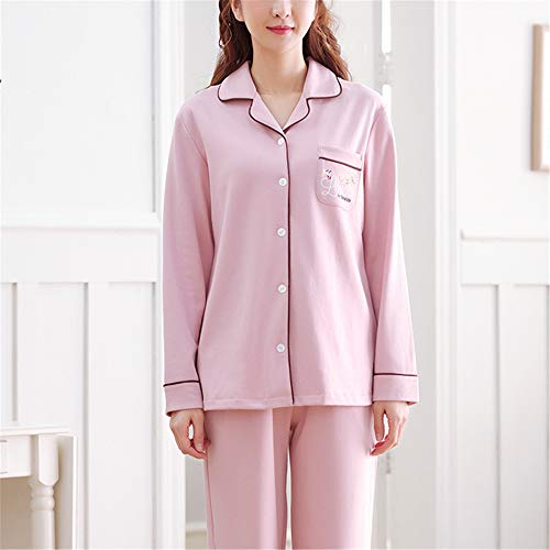 Damen Pyjamas Set Langarm Nachtwäsche mit Knopfleiste Zweiteiliger Nachtwäsche Set Sleepwear,Baumwolle Langarm XL lose A-1 - Macht Ein Minion Kostüm