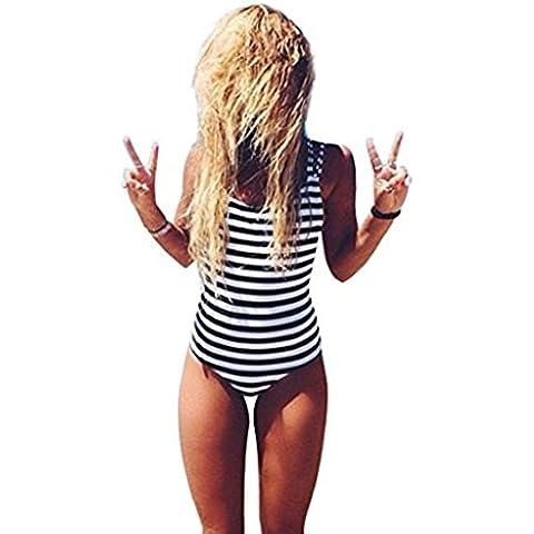 Fortan Donne sexy costume da bagno a righe bikini imbottito
