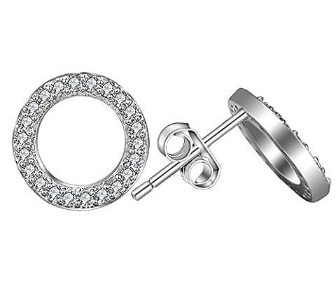 Boucles d'oreilles Elensan pour femme argent sterling 925 cristal rond à tige hypoallergénique