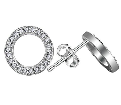 Elensan 925 Sterling Silber Kreis Kristall Ohrstecker Hypoallergen Ohrring für - Silber Kreise