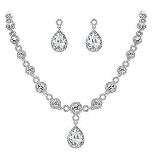 Clearine Damen Fashion Hochzeit Braut Kristall Unendlichkeit Figur 8 Tropfen Y-Halskette Dangle Ohrringe Set
