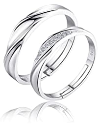 karatcart Platinum Plated Silver Crystal Elegant Couple Adjustable Ring for Men and Women